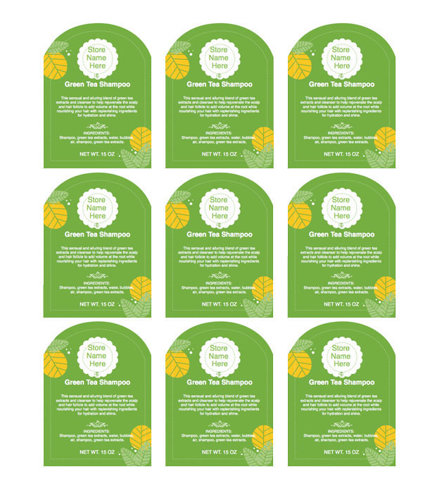 This is a preview of the Green Florals Adhesive Label