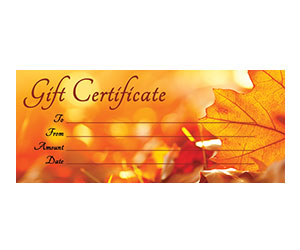 This is a preview of the Rustic Leaves Gift Certificate