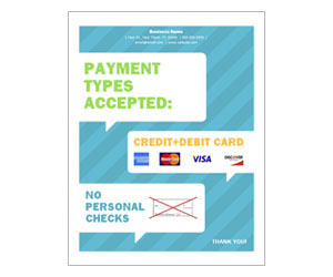 This is a preview of the Accepted Payments Flyer