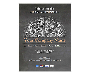 This is a preview of the Grand Opening Pizza Place Flyer