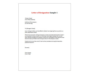This is a preview of the Letter of Resignation 1