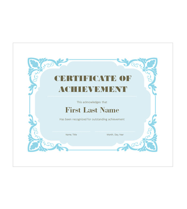 This is a preview of the Blue Florals Achievement Certificate