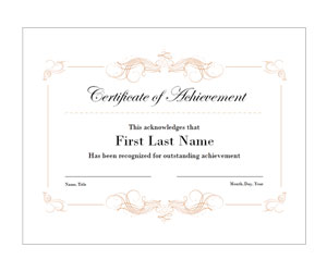 This is a preview of the Elegant Swirls Achievement Certificate