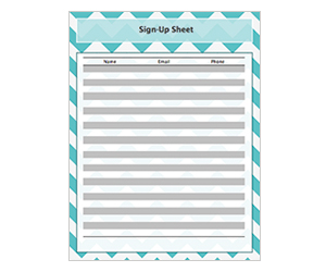 This is a preview of the Aqua Blue ZigZag Sign-Up Sheet