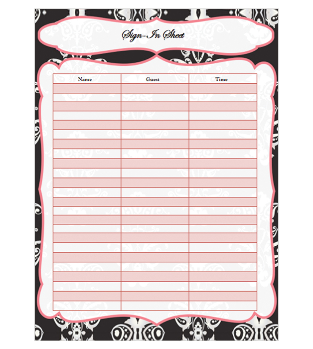 This is a preview of the Classic Burlesque Sign-In Sheet