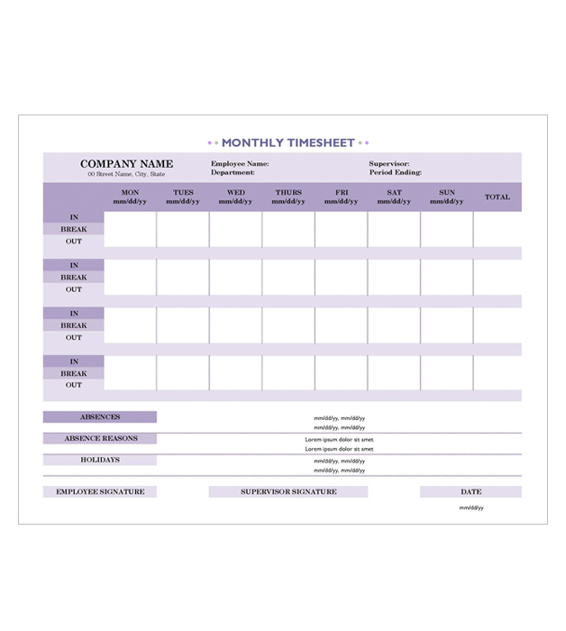 This is a preview of the Monthly Contractor Timesheet