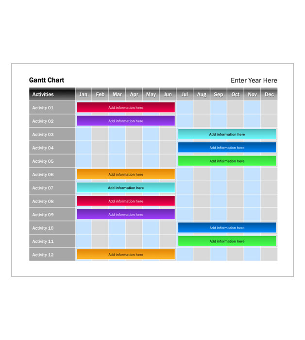 This is a preview of the Jewel Tone Gantt Chart