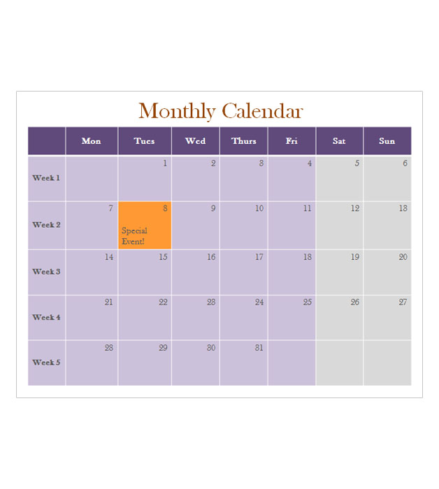 This is a preview of the Monthly Calendar