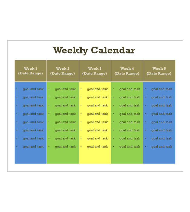 This is a preview of the Weekly Calendar