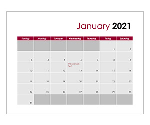 This is a preview of the Calendar for 2021