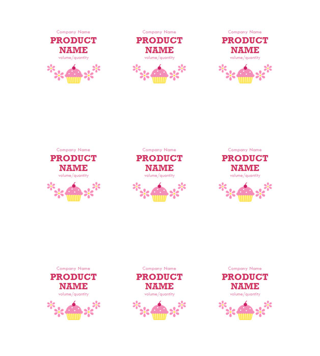 This is a preview of the Pink Cupcake Adhesive Labels