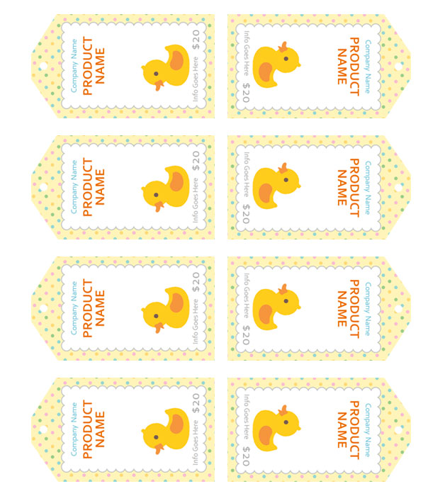 This is a preview of the Baby Ducky Sales Tag