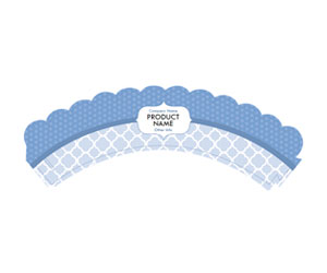 This is a preview of the Baby Blue Quatrefoil Cupcake Wrapper