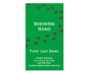 This is a preview of the Green Paws Business Card