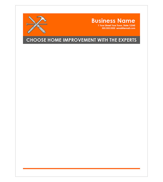 This is a preview of the Home Improvement Letterhead