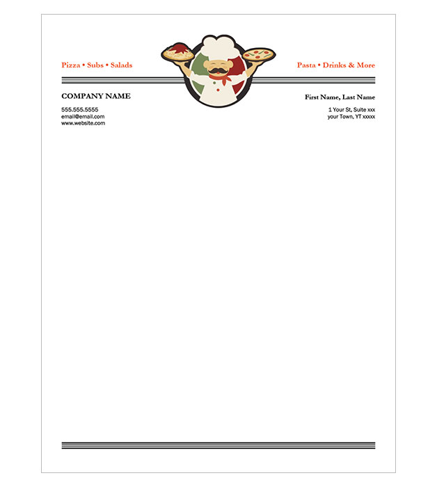 This is a preview of the Italian Restaurant Letterhead