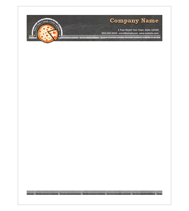 This is a preview of the Pizza Place Letterhead