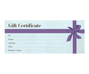 This is a preview of the Purple Bow Gift Certificate