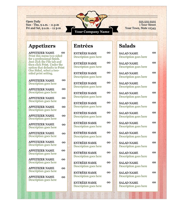 This is a preview of the Italian Restaurant Menu