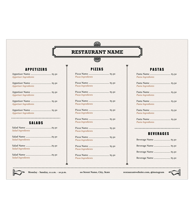 This is a preview of the Rustic Pizza Menu