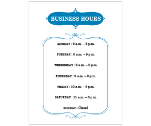 This is a preview of the Fancy Business Hours Flyer