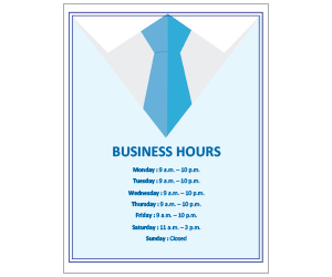 This is a preview of the Tie Business Hours Flyer