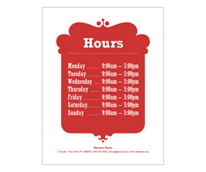 This is a preview of the Business Hours Flyer