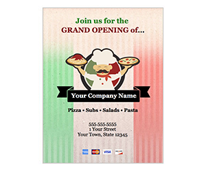 This is a preview of the Grand Opening Italian Restaurant Flyer