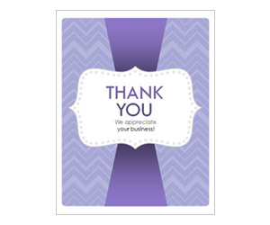 This is a preview of the Purple ZigZags Thank You Card