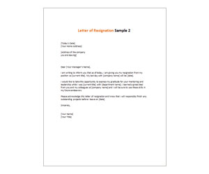 This is a preview of the Letter of Resignation 2